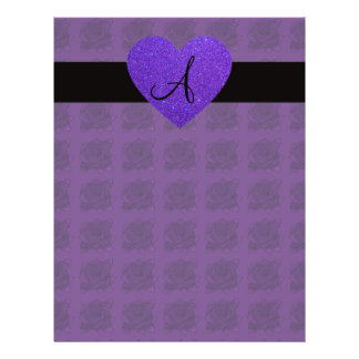 Purple heart monogram roses 21.5 cm x 28 cm flyer