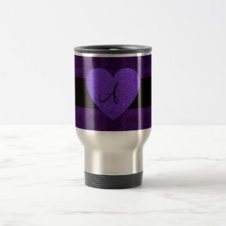 Purple heart monogram roses coffee mug