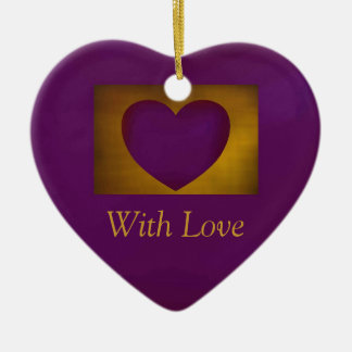 Purple Heart on Gold Double-Sided Heart Ceramic Christmas Ornament
