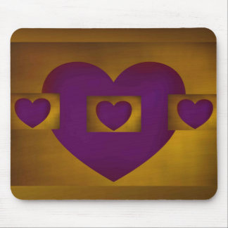 Purple heart on Gold Mouse Pads