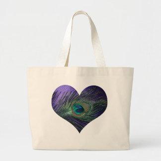 Purple Heart Peacock Feather Bag