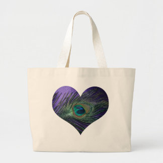 Purple Heart Peacock Feather Large Tote Bag