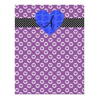 Purple heart polka dots monogram blue roses 21.5 cm x 28 cm flyer