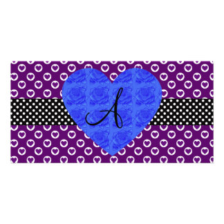 Purple heart polka dots monogram blue roses custom photo card