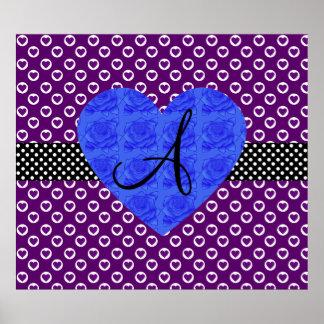 Purple heart polka dots monogram blue roses poster