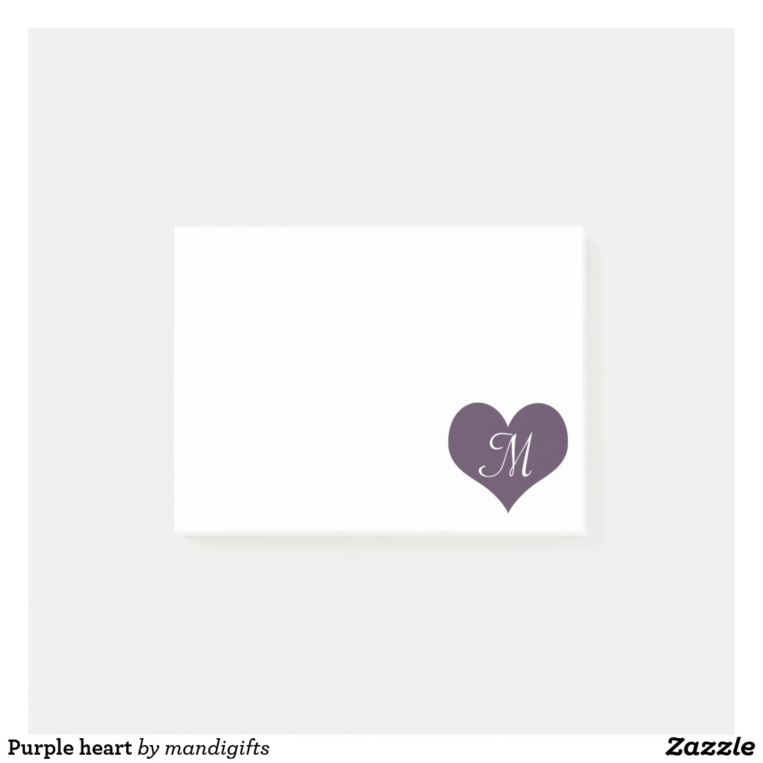 Purple heart post-it notes