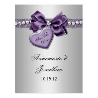 Purple Heart Ribbon Diamonds Silver Save The Date Postcard