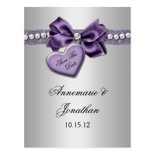 Purple Heart Ribbon Diamonds Silver Save The Date