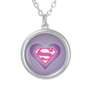 Purple Heart S-Shield Silver Plated Necklace
