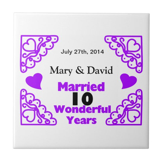 Purple Heart Swirls Names & Date 10 Yr Anniversary Small Square Tile