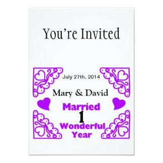 Purple Heart Swirls Names & Date 1 Yr Anniversary 13 Cm X 18 Cm Invitation Card