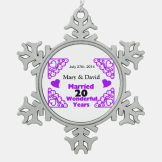 Purple Heart Swirls Names & Date 20 Yr Anniversary Pewter Snowflake Decoration