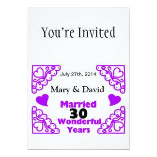 Purple Heart Swirls Names & Date 30 Yr Anniversary 13 Cm X 18 Cm Invitation Card