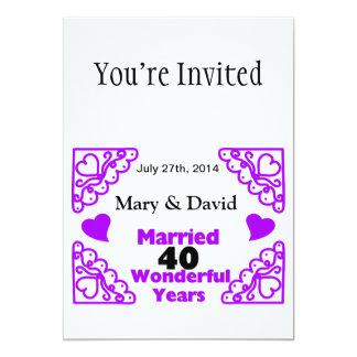 Purple Heart Swirls Names & Date 40 Yr Anniversary 13 Cm X 18 Cm Invitation Card