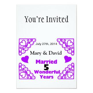Purple Heart Swirls Names & Date 5 Yr Anniversary 13 Cm X 18 Cm Invitation Card