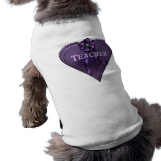 Purple Heart Teacher Sleeveless Dog Shirt