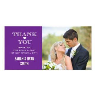 Purple Heart Wedding Photo Thank You Cards
