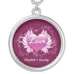 Purple heart wings Love Valentine's silver pendant