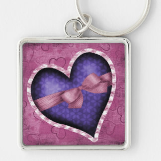 Purple Heart with Pink Bow Silver-Colored Square Key Ring