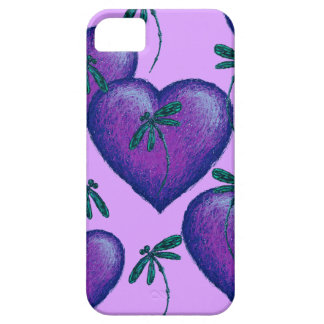 Purple Hearts and Dragonflies Barely There iPhone 5 Case