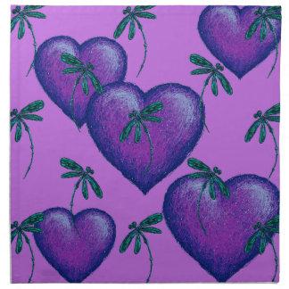 Purple Hearts and Dragonflies Napkin
