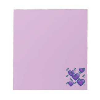 Purple Hearts and Dragonflies Notepads