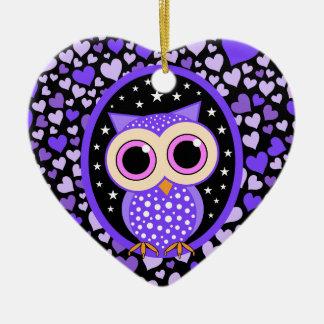 purple hearts and owl ceramic heart decoration