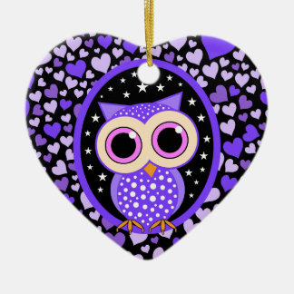 purple hearts and owl christmas ornament