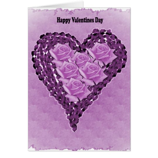 Purple Hearts and Roses Valentines Day Card