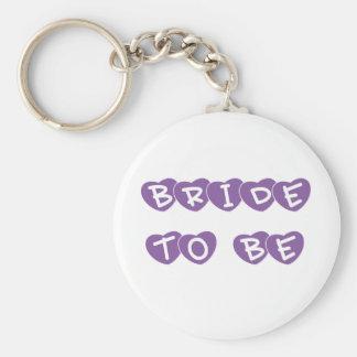 Purple Hearts Bride to Be Key Chain