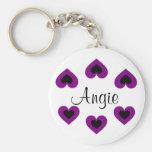 Purple Hearts Customisable Valentine Name Keychain