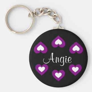 Purple Hearts Customizable Name Keychain