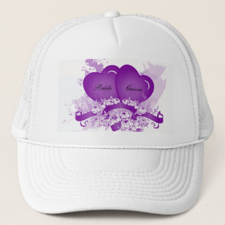 Purple Hearts & Flowers Personalized Bride's Hat
