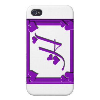 Purple Hearts Frame Monogram H Cases For iPhone 4