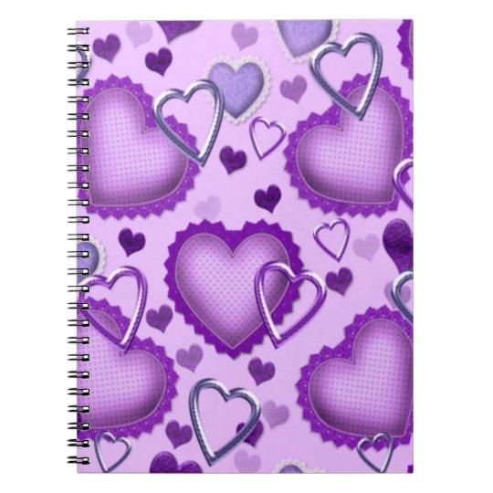 Purple Hearts Notebook