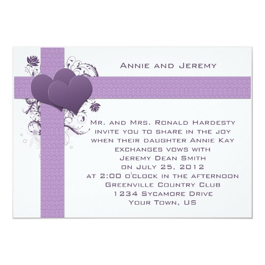 Purple Hearts on Damask Stripes Wedding Invitation
