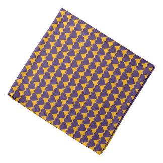 Purple Hearts on Gold Yellow Head Kerchief