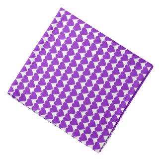 Purple Hearts on White Head Kerchiefs
