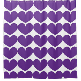 Purple Hearts Pattern Shower Curtain