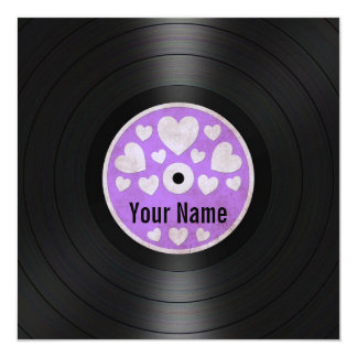 Purple Hearts Personalized Vinyl Record Album 13 Cm X 13 Cm Square Invitation Card