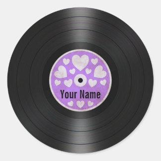 Purple Hearts Personalized Vinyl Record Album Classic Round Sticker