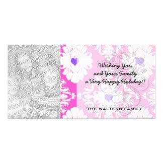 purple hearts pink white damask customized photo card