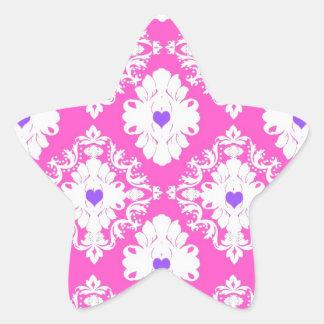 purple hearts pink white damask star sticker