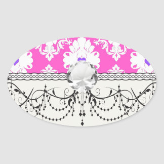 purple hearts pink white damask stickers