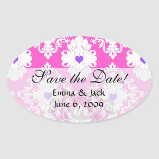 purple hearts pink white damask oval sticker