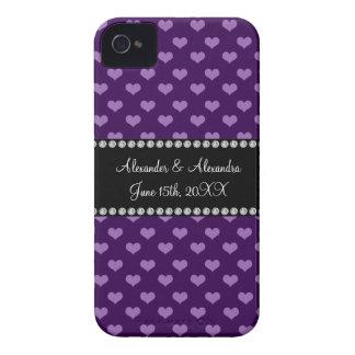 Purple hearts wedding favors Case-Mate iPhone 4 case