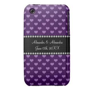 Purple hearts wedding favors iPhone 3 cover