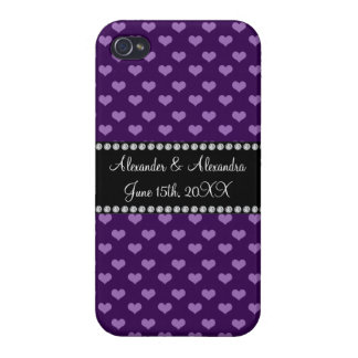 Purple hearts wedding favors iPhone 4 covers