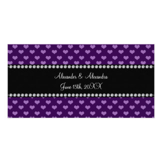 Purple hearts wedding favors photo cards