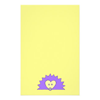 Purple Hedgehog on Yellow Stationery